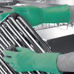 Polyco Optima mediumweight flock lined rubber glove green large