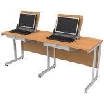 SmartTop ICT 1650mm wide double unit workstation left monitor position   beech effect
