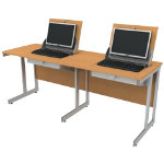 SmartTop ICT 1650mm wide double unit workstation right monitor position   beech effect