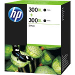 Original HP No300XL black printer ink cartridge twin pack D8J43AE