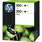 Original HP No300XL black printer ink cartridge twin pack D8J43AE