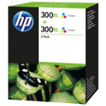 Original HP No300XL tri colour cyan yellow magenta printer ink cartridge twin pack D8J44AE