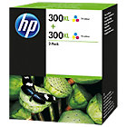 Original HP No300XL tri colour cyan yellow magenta printer ink cartridge twin pack D8J44AE