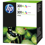 Original HP No301XL tri colour printer ink cartridge twin pack D8J46AE