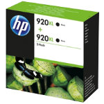 Original HP No920XL black printer ink cartridge twin pack D8J47AE