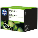 Original HP No940XL black printer ink cartridge twinpack D8J48AE