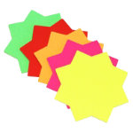 Bright Idea s fluorescent stars assorted colours 100mm x 4 inch pack 30