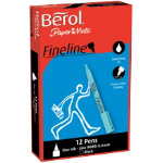 Berol Fineline Pen Black pack 12
