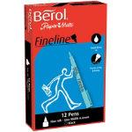 Berol Fineline Pen Black pack 12