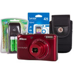 Nikon Coolpix L30 Camera Red inc Card Case and 4 x AA rechargeable batteries