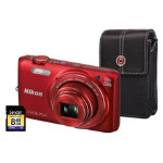 Nikon Coolpix S6800 Red Camera inc 8GB SD Card and Case