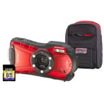 Ricoh Optio WG 20 Red Camera Kit inc 8GB SD Card and Protective Case