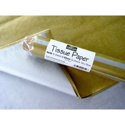 Tissue paper 500mm x 700mm gold and silver step pack of 24 sheets