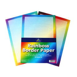 Rainbow A4 border paper pack of 50 sheets