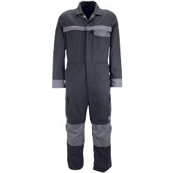 Tungsten Coverall black with grey piping size large waist tall leg
