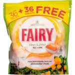 Fairy Clean Fresh citrus dishwasher tablets pack of 36 PLUS 36 free