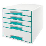 Leitz Wow five drawer cabinet cube in ice blue