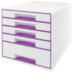 Leitz Wow five drawer cabinet cube in purple
