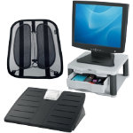 Ergonomic Awareness Bundle featuring back support foot rest and monitor riser