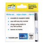 Magic White board white sticky notes 10 x 10cm with pen pack 50