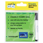 Magic White board green sticky notes 10 x 10cm with pen pack 50