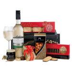 Celebration gift basket with white wine Christmas hamper