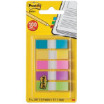 Post it Index Small Flags 5 Colours in a clear dispenser 13mm 100 flags