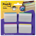 Post it Strong Filing Index Angled Tabs Assorted 50mm 24 Tabs Per Pack