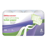 Office Depot three ply toilet tissue pack of 8