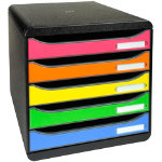 Exacompta Big Box Plus 5 drawer drawer set black assorted colours