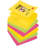 Post it 76 x 76 mm Super Sticky Z notes Rio colour collection pack of 6