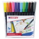 Edding water based fibre pens assorted colours pack 12