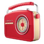 Akai Retro radio red