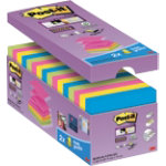 Post it Super Sticky Notes Assorted 76 x 76 mm 70gsm 16 pieces of 90 sheets