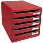 Exacompta Big Box Plus system drawers in carmine red