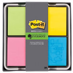 Post it Evernotetm mixed colour pack of 4 pads with holder