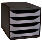 Exacompta Big Box Plus 5 drawer drawer set black silver