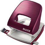 Leitz NeXXt Series Style Metal Office 2 Hole Punch Garnet Red 30 sheets
