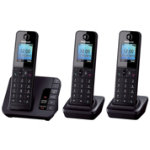 Panasonic KX TGH220EB digital cordless phone with answering machine twin