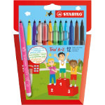 Stabilo Fibre Tip colouring pens assorted colours pack of 12
