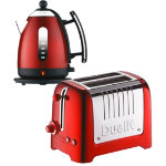 Dualit metallic red kettle and 2 slot toaster set