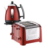 Dualit metallic red kettle and 4 slot toaster set