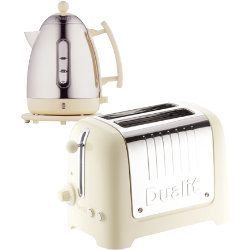 Dualit stainless steel and cream kettle and 2slot toaster set