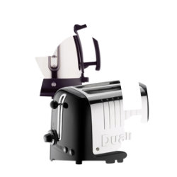 Dualit stainless steel and black kettle and 2slot toaster set
