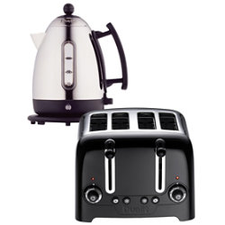 Dualit stainless steel and black kettle and 4slot toaster set