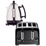 Dualit stainless steel and black kettle and 4 slot toaster set
