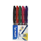 Pilot Frixion Erasable 07mm Rollerball Pens Black Blue Green Violet Pink Pack of 5