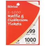 Silvine Raffle and Cloakroom Tickets book 1 1000 pack of 6