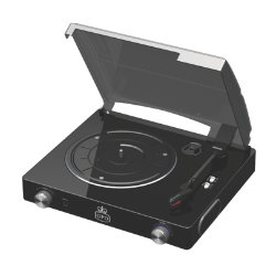 GPO Stylo 3 speed standalone turntable with built in speakers piano black