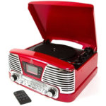 Protelx Memphis 4 in 1 turntable with CD player and FM radio red